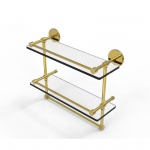 Allied Brass 16 Inch Gallery Double Glass Shelf with Towel Bar (product:P1000-2TB/16-GAL, option:P1000-2TB/16-GAL-PB): Polished Brass