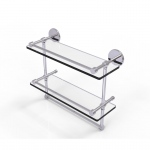 Allied Brass 16 Inch Gallery Double Glass Shelf with Towel Bar (product:P1000-2TB/16-GAL, option:P1000-2TB/16-GAL-PC): Polished Chrome