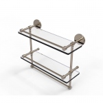 Allied Brass 16 Inch Gallery Double Glass Shelf with Towel Bar (product:P1000-2TB/16-GAL, option:P1000-2TB/16-GAL-PEW): Antique Pewter