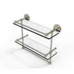 Allied Brass 16 Inch Gallery Double Glass Shelf with Towel Bar (product:P1000-2TB/16-GAL, option:P1000-2TB/16-GAL-PNI): Polished Nickel
