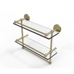 Allied Brass 16 Inch Gallery Double Glass Shelf with Towel Bar (product:P1000-2TB/16-GAL, option:P1000-2TB/16-GAL-SBR): Satin Brass