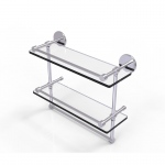 Allied Brass 16 Inch Gallery Double Glass Shelf with Towel Bar (product:P1000-2TB/16-GAL, option:P1000-2TB/16-GAL-SCH): Satin Chrome