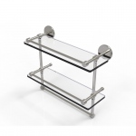 Allied Brass 16 Inch Gallery Double Glass Shelf with Towel Bar (product:P1000-2TB/16-GAL, option:P1000-2TB/16-GAL-SN): Satin Nickel
