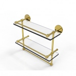 Allied Brass 16 Inch Gallery Double Glass Shelf with Towel Bar (product:P1000-2TB/16-GAL, option:P1000-2TB/16-GAL-UNL): Unlacquered Brass