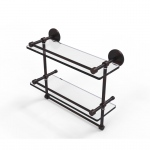 Allied Brass 16 Inch Gallery Double Glass Shelf with Towel Bar (product:P1000-2TB/16-GAL, option:P1000-2TB/16-GAL-VB): Venetian Bronze