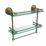 Allied Brass 16 Inch Gallery Double Glass Shelf with Towel Bar (product:PRBP-2TB/16-GAL, option:PRBP-2TB/16-GAL-ABR): Antique Brass
