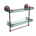 Allied Brass 16 Inch Gallery Double Glass Shelf with Towel Bar (product:PRBP-2TB/16-GAL, option:PRBP-2TB/16-GAL-CA): Antique Copper