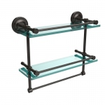 Allied Brass 16 Inch Gallery Double Glass Shelf with Towel Bar (product:PRBP-2TB/16-GAL, option:PRBP-2TB/16-GAL-ORB): Oil Rubbed Bronze