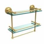 Allied Brass 16 Inch Gallery Double Glass Shelf with Towel Bar (product:PRBP-2TB/16-GAL, option:PRBP-2TB/16-GAL-UNL): Unlacquered Brass
