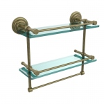 Allied Brass 16 Inch Gallery Double Glass Shelf with Towel Bar (product:QN-2TB/16-GAL, option:QN-2TB/16-GAL-ABR): Antique Brass