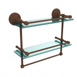 Allied Brass 16 Inch Gallery Double Glass Shelf with Towel Bar (product:QN-2TB/16-GAL, option:QN-2TB/16-GAL-ABZ): Antique Bronze