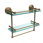 Allied Brass 16 Inch Gallery Double Glass Shelf with Towel Bar (product:QN-2TB/16-GAL, option:QN-2TB/16-GAL-BBR): Brushed Bronze