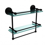 Allied Brass 16 Inch Gallery Double Glass Shelf with Towel Bar (product:QN-2TB/16-GAL, option:QN-2TB/16-GAL-BKM): Matte Black