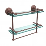Allied Brass 16 Inch Gallery Double Glass Shelf with Towel Bar (product:QN-2TB/16-GAL, option:QN-2TB/16-GAL-CA): Antique Copper