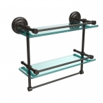 Allied Brass 16 Inch Gallery Double Glass Shelf with Towel Bar (product:QN-2TB/16-GAL, option:QN-2TB/16-GAL-ORB): Oil Rubbed Bronze