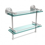 Allied Brass 16 Inch Gallery Double Glass Shelf with Towel Bar (product:QN-2TB/16-GAL, option:QN-2TB/16-GAL-PC): Polished Chrome