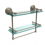 Allied Brass 16 Inch Gallery Double Glass Shelf with Towel Bar (product:QN-2TB/16-GAL, option:QN-2TB/16-GAL-PEW): Antique Pewter