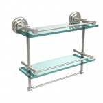 Allied Brass 16 Inch Gallery Double Glass Shelf with Towel Bar (product:QN-2TB/16-GAL, option:QN-2TB/16-GAL-PNI): Polished Nickel