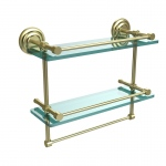 Allied Brass 16 Inch Gallery Double Glass Shelf with Towel Bar (product:QN-2TB/16-GAL, option:QN-2TB/16-GAL-SBR): Satin Brass