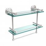 Allied Brass 16 Inch Gallery Double Glass Shelf with Towel Bar (product:QN-2TB/16-GAL, option:QN-2TB/16-GAL-SCH): Satin Chrome