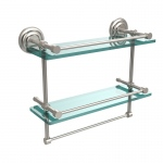 Allied Brass 16 Inch Gallery Double Glass Shelf with Towel Bar (product:QN-2TB/16-GAL, option:QN-2TB/16-GAL-SN): Satin Nickel