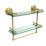 Allied Brass 16 Inch Gallery Double Glass Shelf with Towel Bar (product:QN-2TB/16-GAL, option:QN-2TB/16-GAL-UNL): Unlacquered Brass