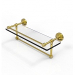 Allied Brass 16 Inch Gallery Glass Shelf with Towel Bar (product:WP-1TB/16-GAL, option:WP-1TB/16-GAL-PB): Polished Brass