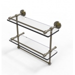 Allied Brass 16 Inch Gallery Double Glass Shelf with Towel Bar (product:WP-2TB/16-GAL, option:WP-2TB/16-GAL-ABR): Antique Brass