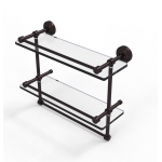 Allied Brass 16 Inch Gallery Double Glass Shelf with Towel Bar (product:WP-2TB/16-GAL, option:WP-2TB/16-GAL-ABZ): Antique Bronze