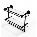 Allied Brass 16 Inch Gallery Double Glass Shelf with Towel Bar (product:WP-2TB/16-GAL, option:WP-2TB/16-GAL-BKM): Matte Black