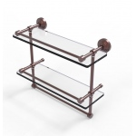 Allied Brass 16 Inch Gallery Double Glass Shelf with Towel Bar (product:WP-2TB/16-GAL, option:WP-2TB/16-GAL-CA): Antique Copper
