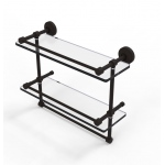Allied Brass 16 Inch Gallery Double Glass Shelf with Towel Bar (product:WP-2TB/16-GAL, option:WP-2TB/16-GAL-ORB): Oil Rubbed Bronze