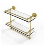 Allied Brass 16 Inch Gallery Double Glass Shelf with Towel Bar (product:WP-2TB/16-GAL, option:WP-2TB/16-GAL-PB): Polished Brass