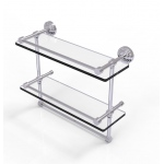 Allied Brass 16 Inch Gallery Double Glass Shelf with Towel Bar (product:WP-2TB/16-GAL, option:WP-2TB/16-GAL-PC): Polished Chrome