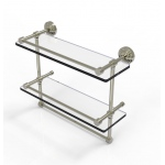 Allied Brass 16 Inch Gallery Double Glass Shelf with Towel Bar (product:WP-2TB/16-GAL, option:WP-2TB/16-GAL-PNI): Polished Nickel