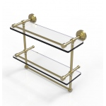 Allied Brass 16 Inch Gallery Double Glass Shelf with Towel Bar (product:WP-2TB/16-GAL, option:WP-2TB/16-GAL-SBR): Satin Brass