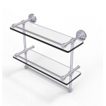 Allied Brass 16 Inch Gallery Double Glass Shelf with Towel Bar (product:WP-2TB/16-GAL, option:WP-2TB/16-GAL-SCH): Satin Chrome