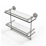 Allied Brass 16 Inch Gallery Double Glass Shelf with Towel Bar (product:WP-2TB/16-GAL, option:WP-2TB/16-GAL-SN): Satin Nickel