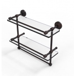 Allied Brass 16 Inch Gallery Double Glass Shelf with Towel Bar (product:WP-2TB/16-GAL, option:WP-2TB/16-GAL-VB): Venetian Bronze