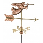 Angel Cottage Weathervane - Polished Copper w/Roof Mount by Good Directions