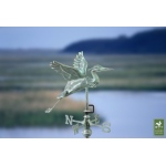 Blue Heron Cottage Weathervane - Blue Verde Copper w/Roof Mount by Good Directions