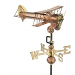 Biplane Cottage Weathervane - Polished Copper w/Roof Mount by Good Directions