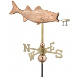 Bass with Lure Cottage Weathervane - Polished Copper w/Roof Mount by Good Directions