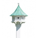 Carousel Bird House with Blue Verde Copper Roof by Lazy Hill Farm Designs