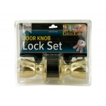 Brass Finish Locking Door Knob Set With 2 Keys