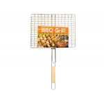 Bar B Q Time Barbecue Grill Basket With Wood Handle