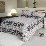 Blancho  100% Cotton 3PC Floral Vermicelli-Quilted Patchwork Quilt Set  - Alice and Flower