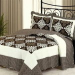 Blancho  100% Cotton 3PC Floral Vermicelli-Quilted Patchwork Quilt Set  - Athena