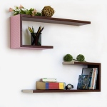 Blancho  Crutch-Shaped Leather Wall Shelf / Bookshelf  - Exquisite Grid