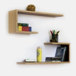 Blancho  Crutch-Shaped Leather Wall Shelf / Bookshelf  - Beige Grid